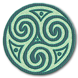 Celtic Spiral in shades of teal and green, Marcia's Logo